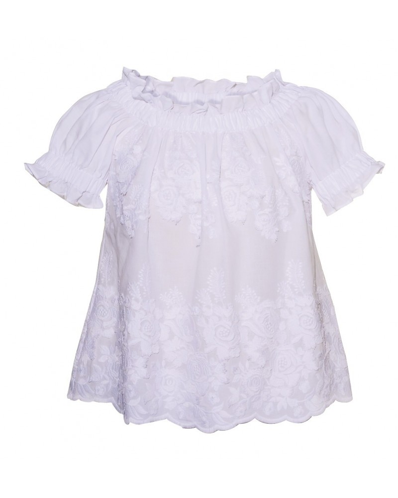 short cut A-Line cotton blouse (baby doll style) in white with embroidery