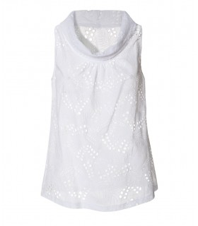 Sleeveless cotton eyelet lace top with ring collar