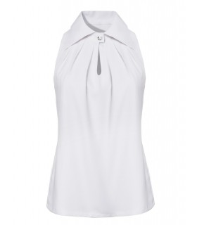 Halter top in white with a wide collar and decorative button