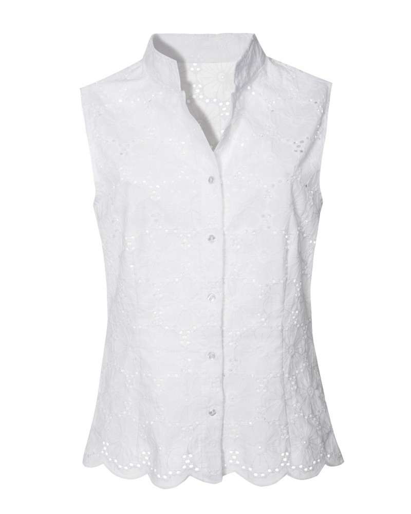 Sleeveless cotton eyelet lace top with standing collar