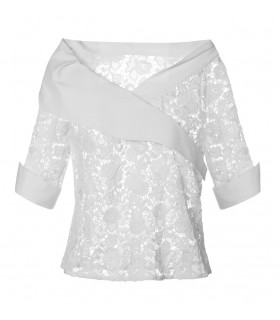 3/4-sleeve lace blouse in white with asymmetrical surplice collar