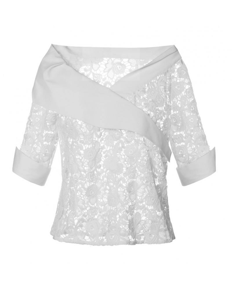 loose fitting 3/4-sleeve lace blouse in white with asymmetrical surplice collar