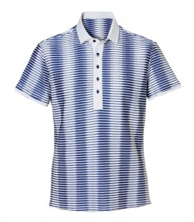 Stretch fabric polo shirt, alternating white and blue stripes