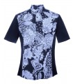 short sleeve shirt in blue with printed plastron in white/blue