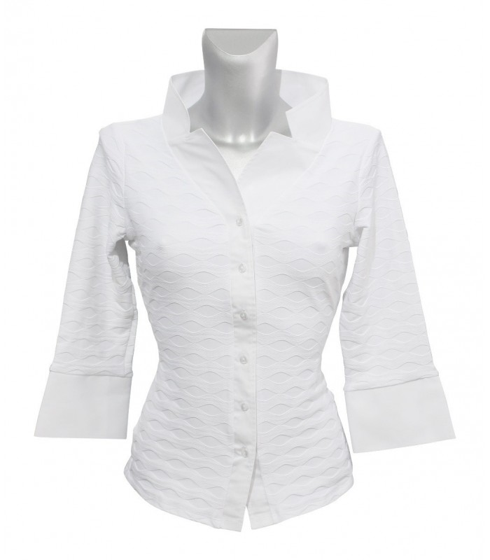 stretch blouse (3/4-sleeve) in white with weave pattern and double collar