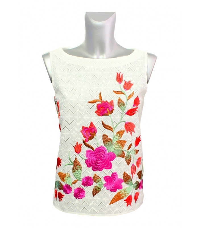 Sleeveless lacy top in off-white with large floral embroidery