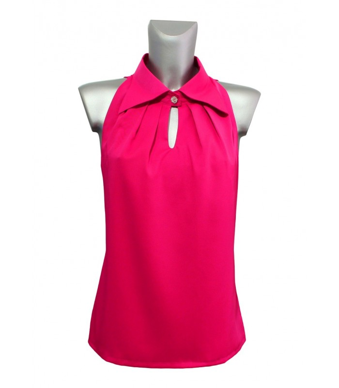 Halter top (overhead) in bougainville pink  with a wide collar and decorative button