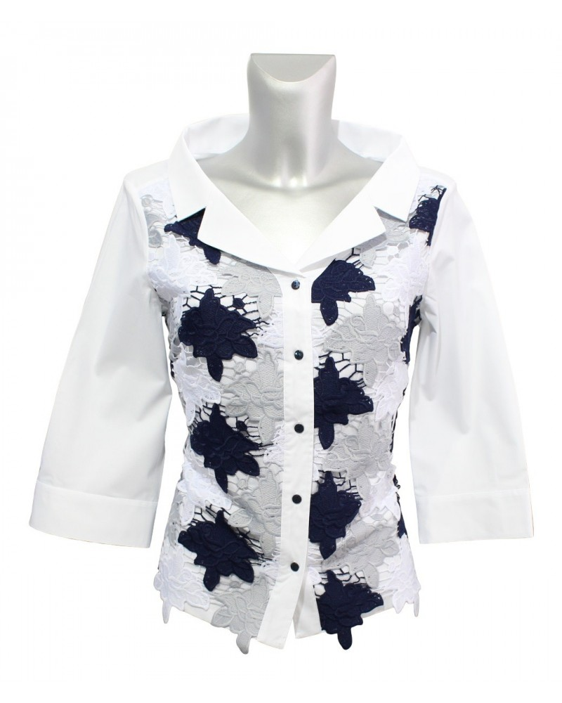 loose fitting 3/4-sleeve blouse in white with embroidery overlay in white/blue/gray