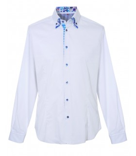 shirt in white with double collar and colorful contrast
