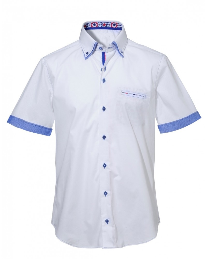 short sleeved shirt in white with contrast, double collar and colored pocket square application