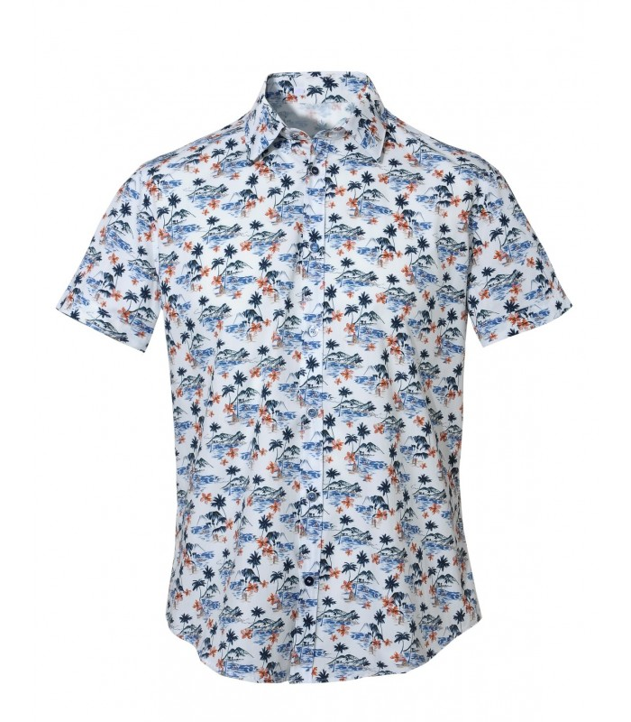 short sleeved cotton shirt in white with print pattern