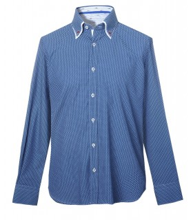 shirt in blue with double collar and fine pattern