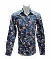 shirt in blue with fancy pattern
