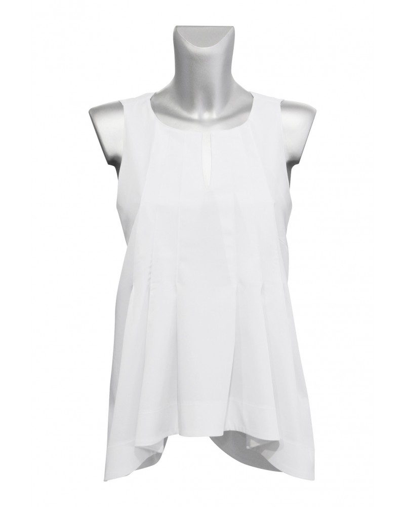 wide flared A-line cotton blouse (overhead) in white with different lengths