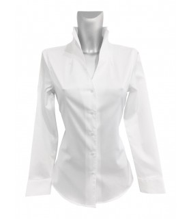 non iron shirt in white with standing collar