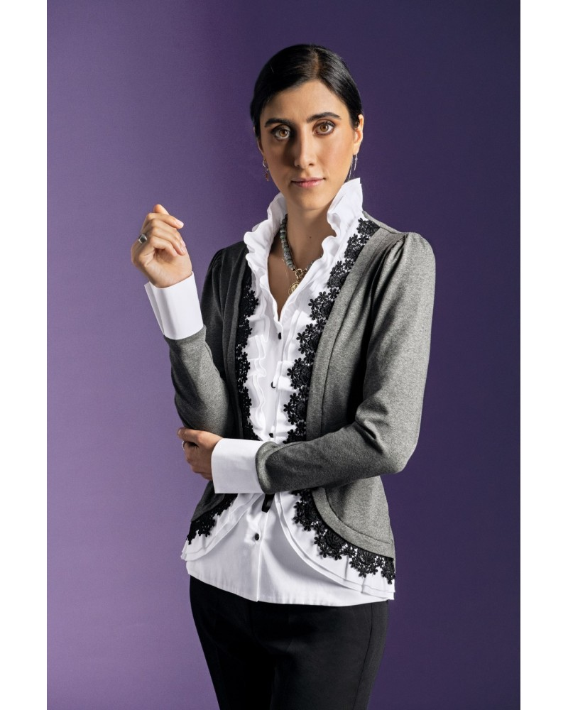 Stand-up collar blouse in gray, white, black with fine ruffles and lace decoration