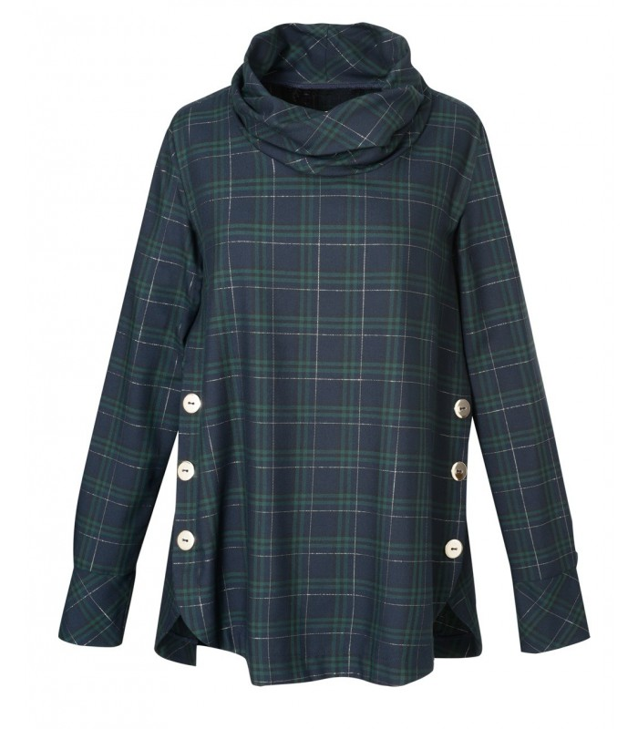 Wide flared A-line blouse in dark blue, stripe pattern in green, silver thread and silver button applications