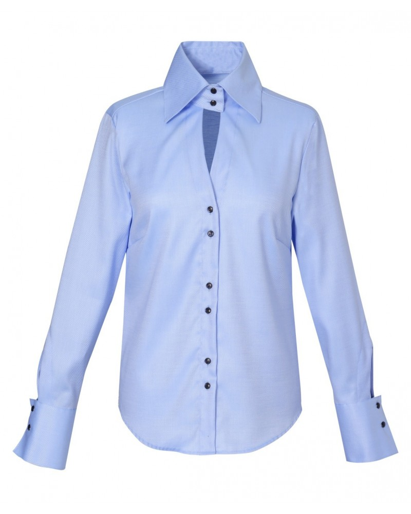 Non iron shirt in light blue with wide collar
