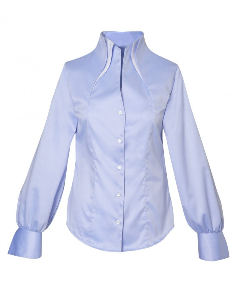 Non iron shirt in light blue with double standing collar in white and balloon sleeves
