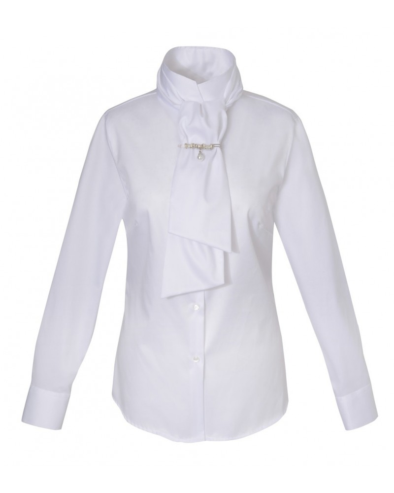 Non iron shirt in white with standing collar, ribbon and brooch on the collar (each removable)