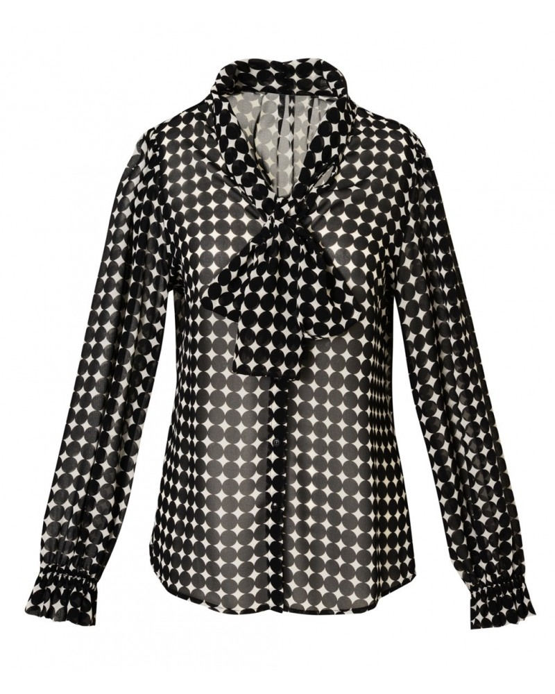 Transparent blouse with dot pattern in black and loop collar