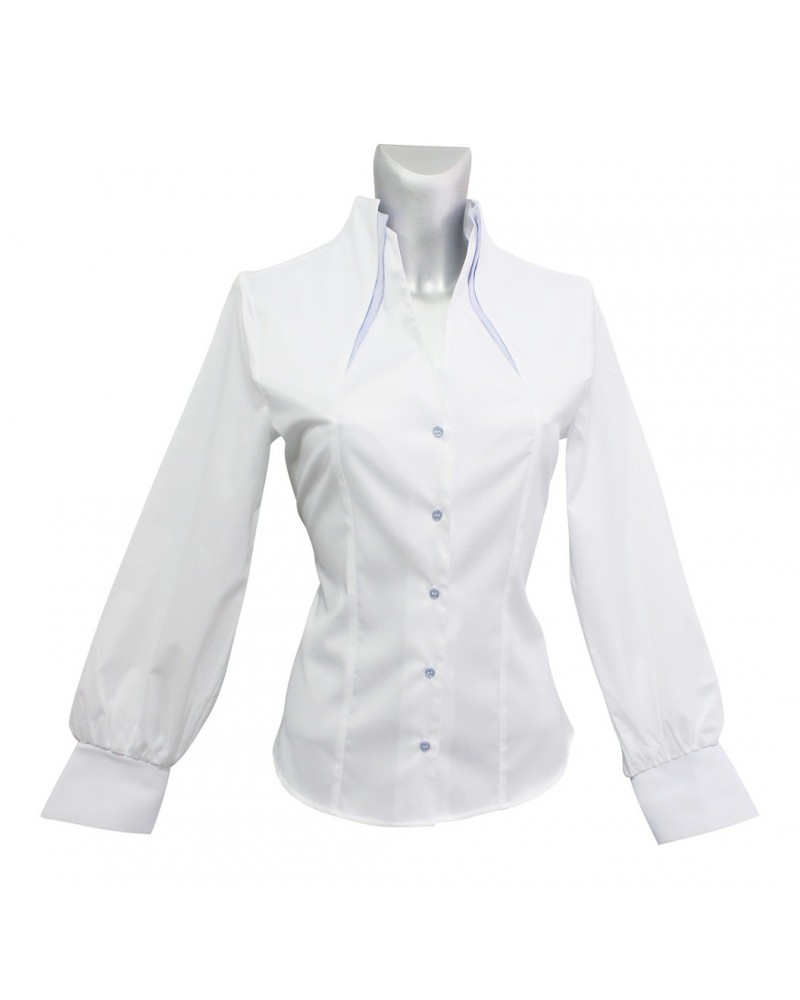 Non iron shirt in white with double standing collar in light blue and balloon sleves