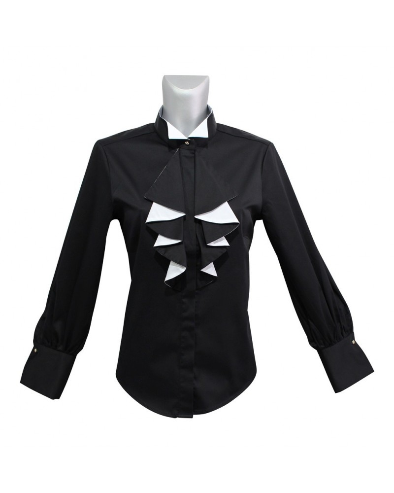 Loose fitting cotton blouse in black with contrast in white, wing collar, concealed button placket  and chabot