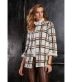 Knitted coat in white with stripe pattern in black/brown (2 hook locks at the top)