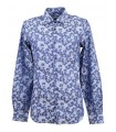 Cotton shirt with fancy flower pattern blue