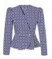Blouse jacket in dark blue with chain pattern in white, peplum, puffed shoulders and 2 gold buttons