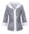Slightly transparent, interrupted stretch blouse with 3/4 sleeves in dark blue with pattern in white and zip