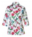 3/4 sleeve blouse in white with a flower pattern