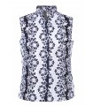 Loose-fitting blouse without arms in dark blue with openwork embroidery in white