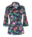 3/4 sleeve blouse in dark blue with a flower pattern
