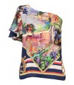 Half strapless, short cut A-line blouse with print pattern and elastic band