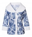 Sl. transparent, interrupted stretch blouse with a wide shawl collar, 3/4 sleeves in white with a floral pattern in denim blue