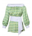 Blouse (overhead) with seventies print in green and wide sash (removable)