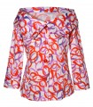 3/4 sleeves blouse jacket in white with graphic print in purple / red and wide collar in the style of the fifties