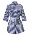 Long blouse in white with 3/4 sleeves, striped pattern in dark blue and wrapping tape (removable)