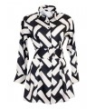 Long blouse (A-line) with pattern in black / white and belt