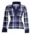 Stretch blouse (overhead) with checked pattern in blue/white/black and contrast in dark blue