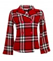 Loosely fitting jacket in red/white/black with double button placket