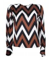 Loose blouse with a zigzag pattern in brown / white / black, button placket on the back, ruffled shoulders and balloon sleeves