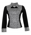 Two-material blouse in black with stand-up collar and dot pattern