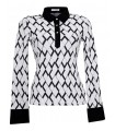 Stretch blouse (overhead) in white with pattern and contrast in black