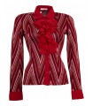Stretch blouse in red with ruffles and a shiny pattern in gold and silver