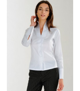 standing collar shirt in white