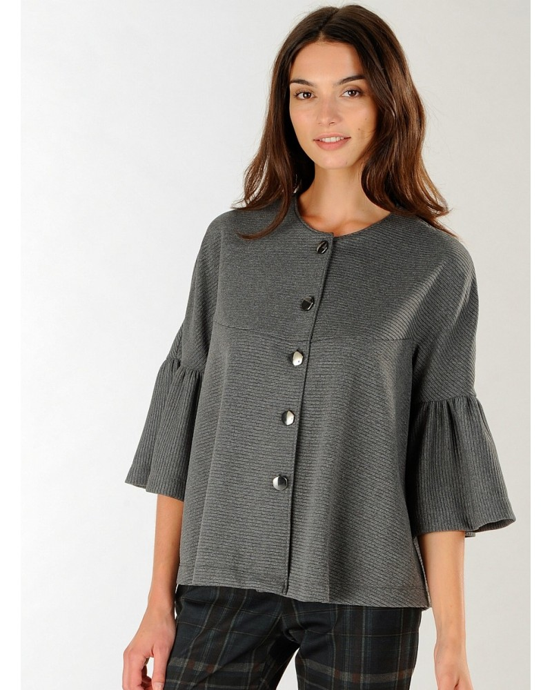 Wide jacket in grey with 3/4-trumpet sleeves